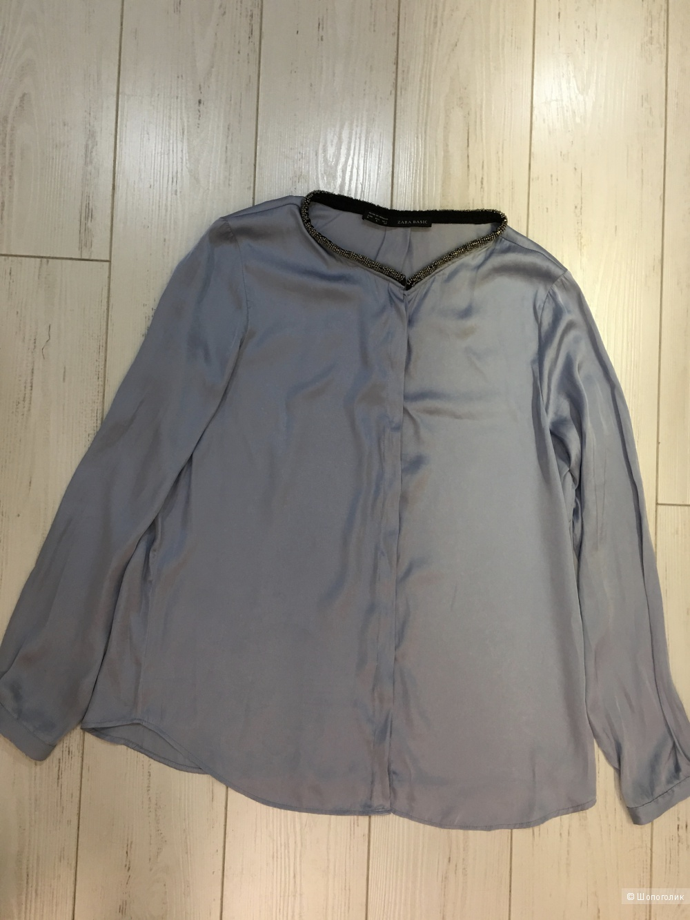 Блуза Zara серо-голубая с декоративной отделкой Вискоза