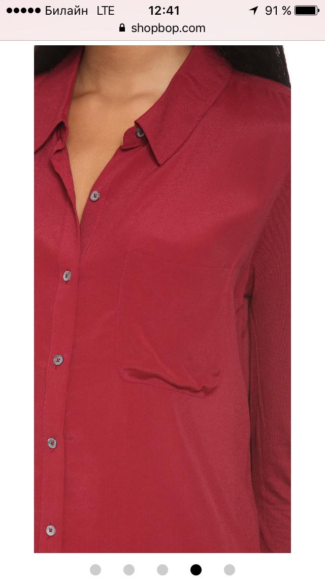 Бордовая рубашка свободного покроя бренда Soft Joie размер M