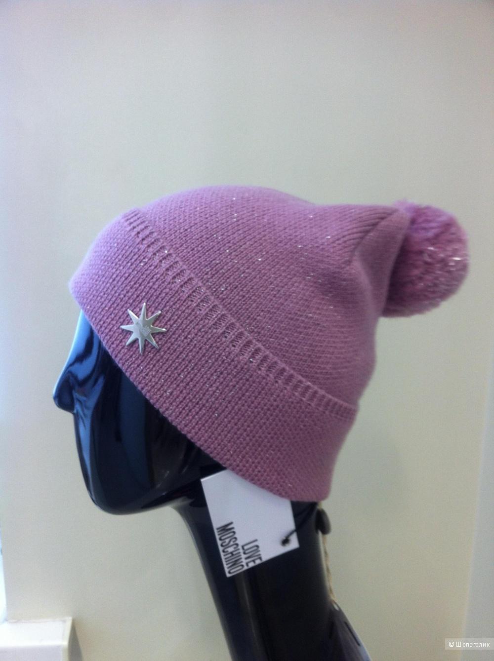 Пристрою замечательную шапочку LOVE MOSCHINO, розовая, размер S