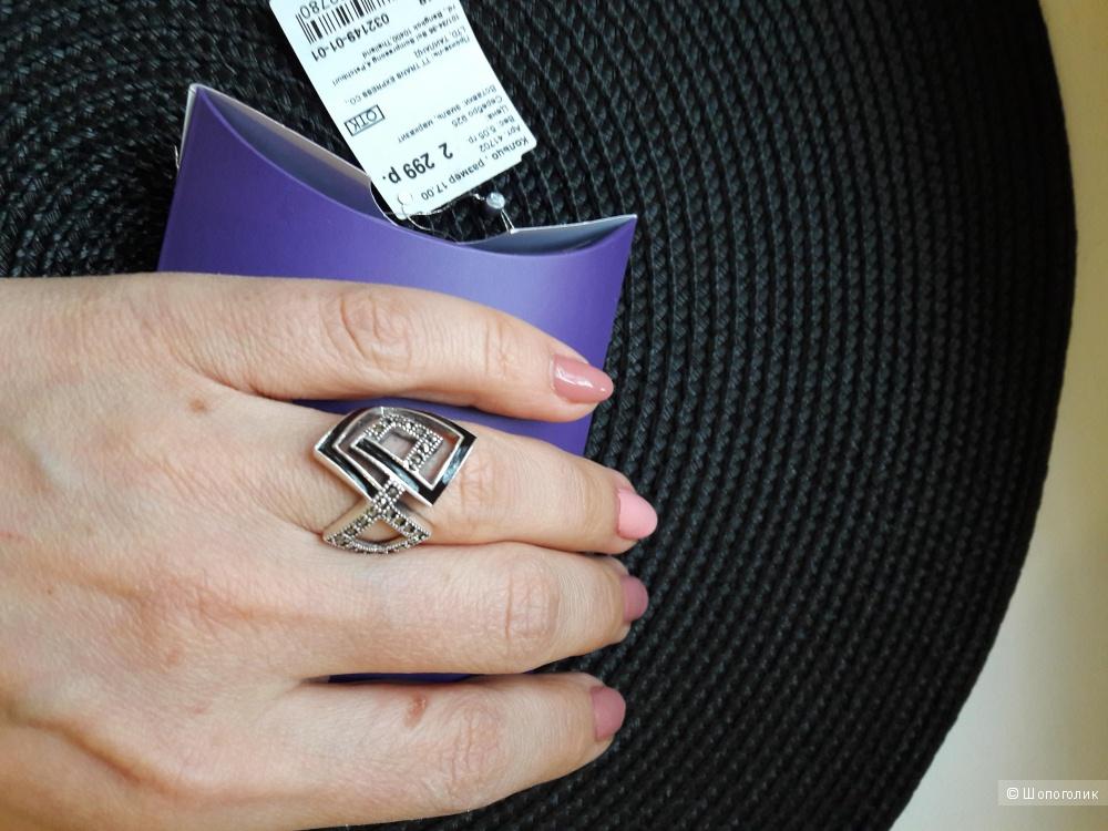 Кольцо серебро 17 р-р. Марказит, эмаль