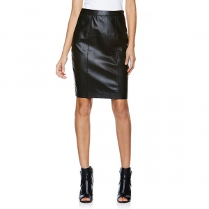 Новая кожаная юбка-карандаш US 6 (на 44) чёрная Coleen Lopez