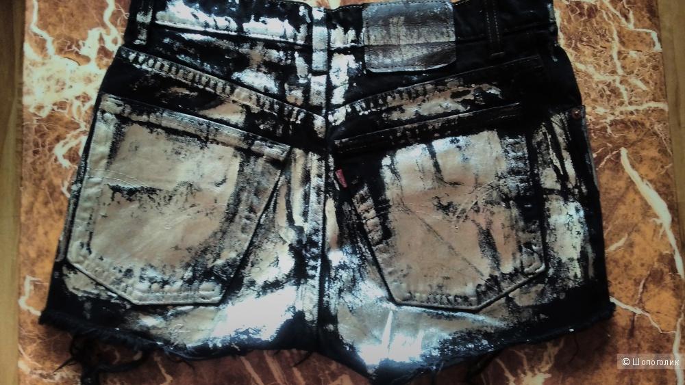 Винтажные джинсовые Шорты черные с необработанным краем покрытием Levi`s р S