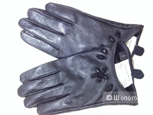 Кожаные перчатки с камушками Новые