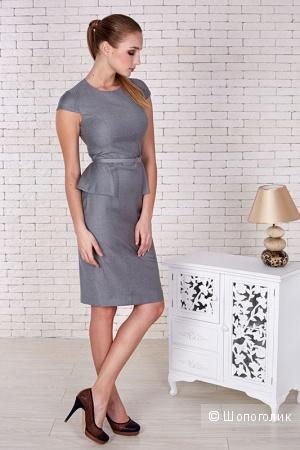 Деловое платье с ремнем серого цвета Elena Shipilova размер 46 (хорошо на 44-46)