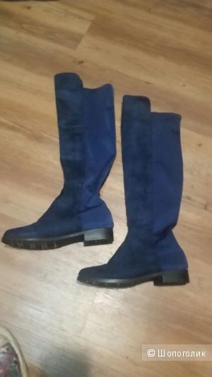 Синие сапоги -ботфорты с эластичной вста вкой 39
