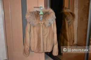 Норковая шуба с капюшоном из рыси 44-50 р-ра