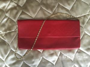 Кожаный красный клатч Gaude