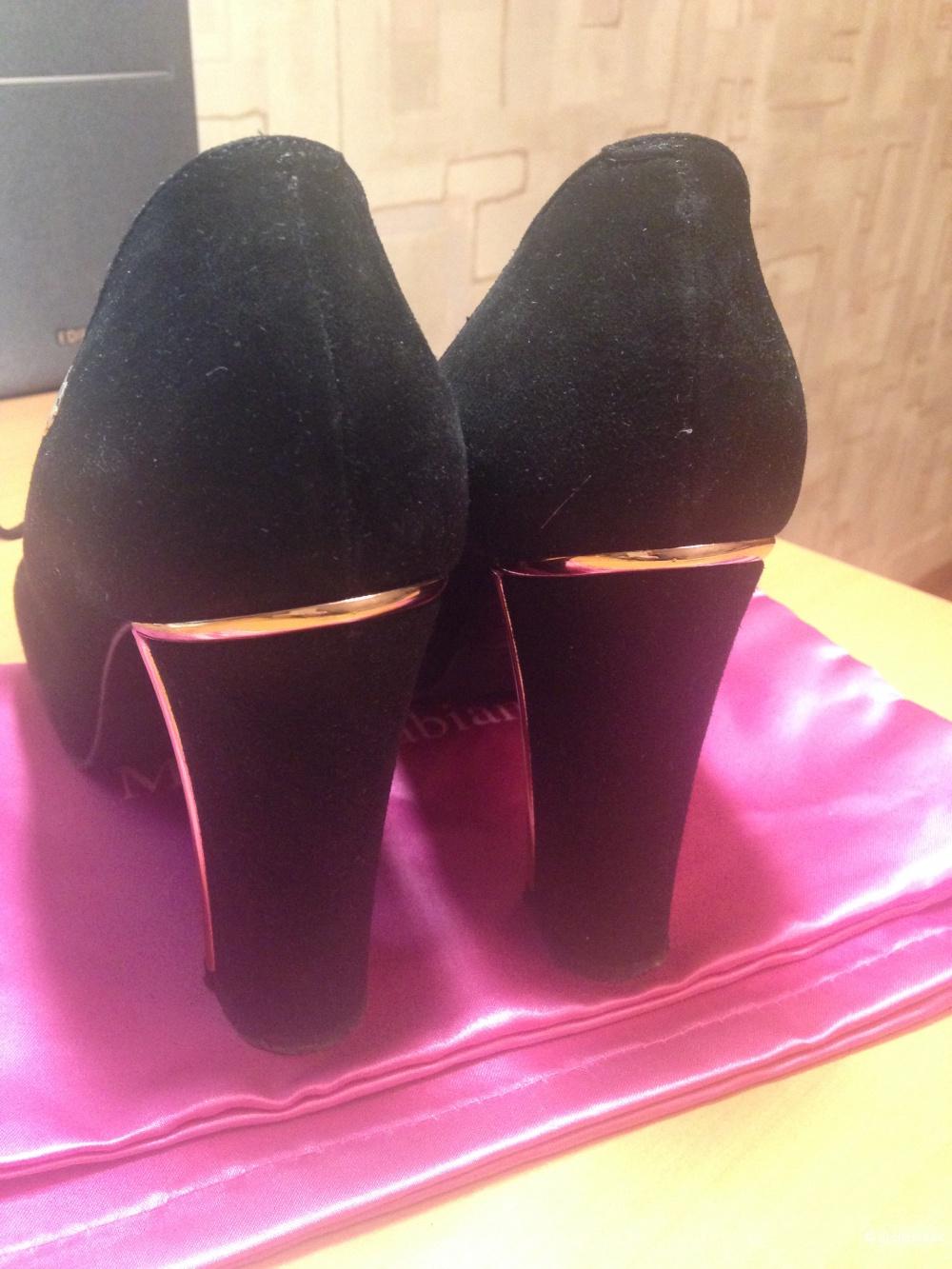 Туфли черного цвета замша Marino Fabiani б/у размер 37 - оригинал