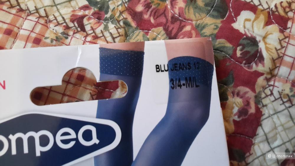 Высокие гольфы-чулки красивого цвета голубой джинс размер 3/4 M/L