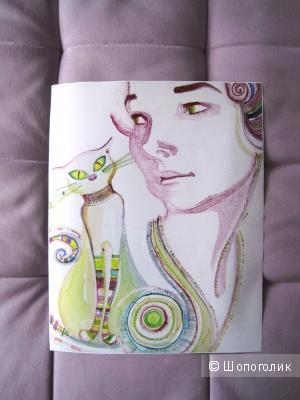 Постер, печать на фото бумаге, репродукция, кот с девушкой, 39х49