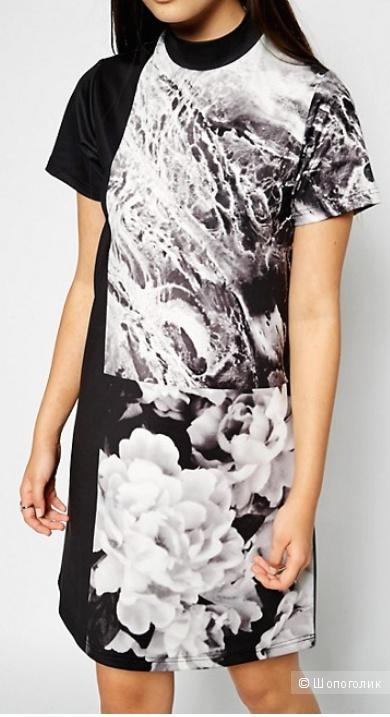 Платье из скубы с высоким воротом и фотопринтом ASOS