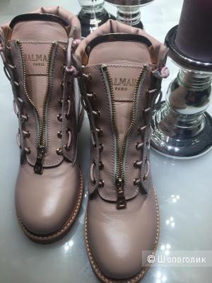 Кожаные розовые ботинки Balmain