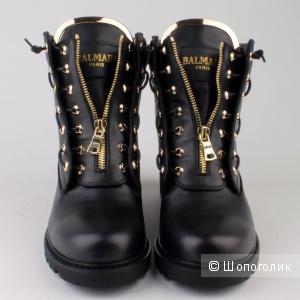 Чёрные кожаные ботинки Balmain