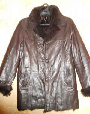 Мужская дубленка, цвет коричневый, размер 52