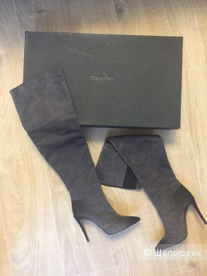 Шикарные замшевые ботфорты Calvin Klein collection 39 размер