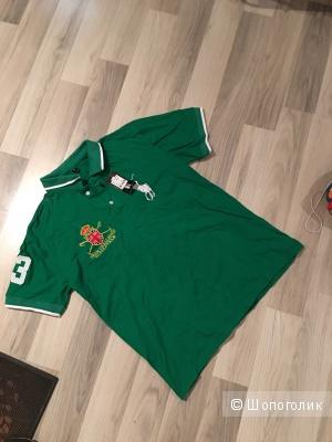 Мужская футболка, ralph lauren,цвет зеленый,размер XL, маломерит, копия,новая!
