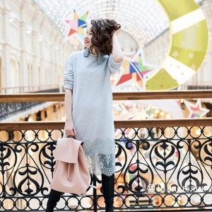 Платье-свитшот с кружевом серое PRIVATE SUN, новое.
