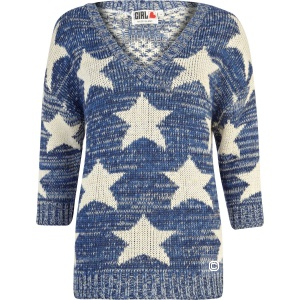 Джемпер River Island Blue Chelsea Girl star print, 8 UK (42/44)