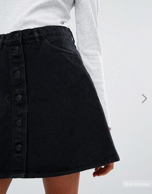 de158c98a1f Джинсовая юбка-трапеция на пуговицах Monki 44 р.