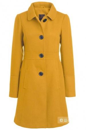 Продам горчичное пальто, 46-48р.