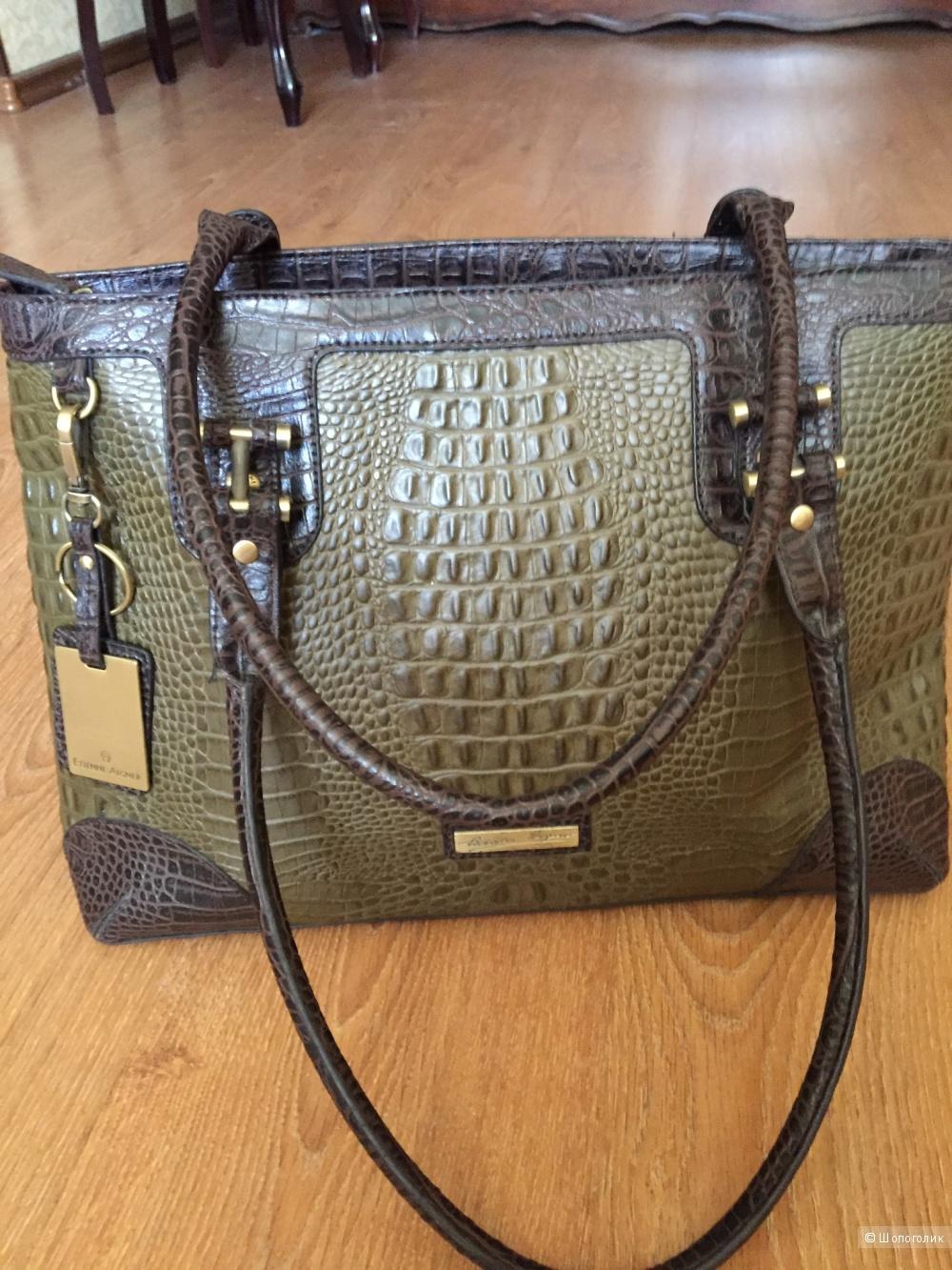 Кожаная сумка с выделкой под крокодила Etienne Aigner
