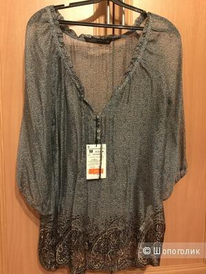 Шёлковая блуза с принтом Zara, размер М