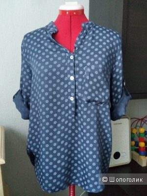Синяя блуза в горох