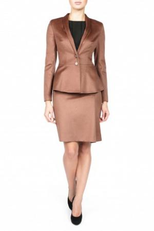 Красивый теплый пиджак шоколадного цвета Charuel размер 48 на 46