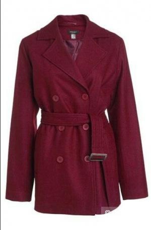Бордовое пальто демисезон, 48-50разм.