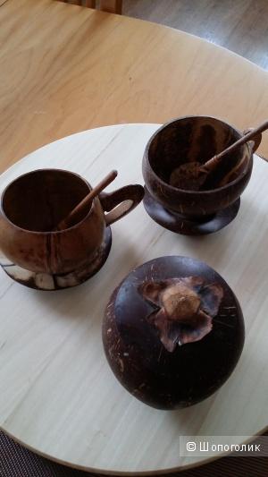 Комплект чайной посуды посуды из кокоса