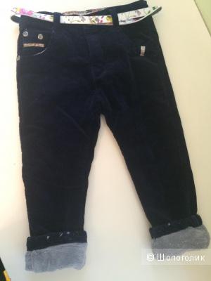 Продам новые утепленные вельветовые брюки на девочку рост 98