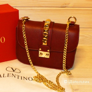 Клатч Valentino Glam Lock Small Wine Red