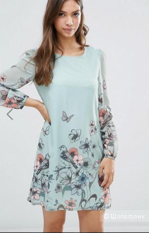 Нежное шифоновое платье с бабочками Yumi, цвет Мятный, размер 14UK/10US/48рос