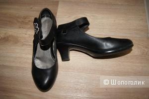 Туфли черные кожаные, р-р 36