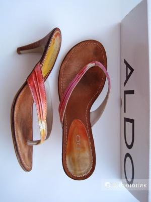 Кожаные мюли, шлепанцы на каблуке или босоножки без задников ALDO, размер 37