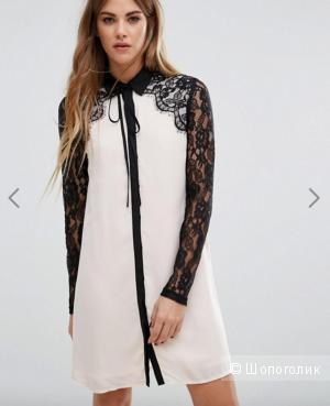 Красивое платье с кружевной отделкой, размер 14UK/10US/48рос