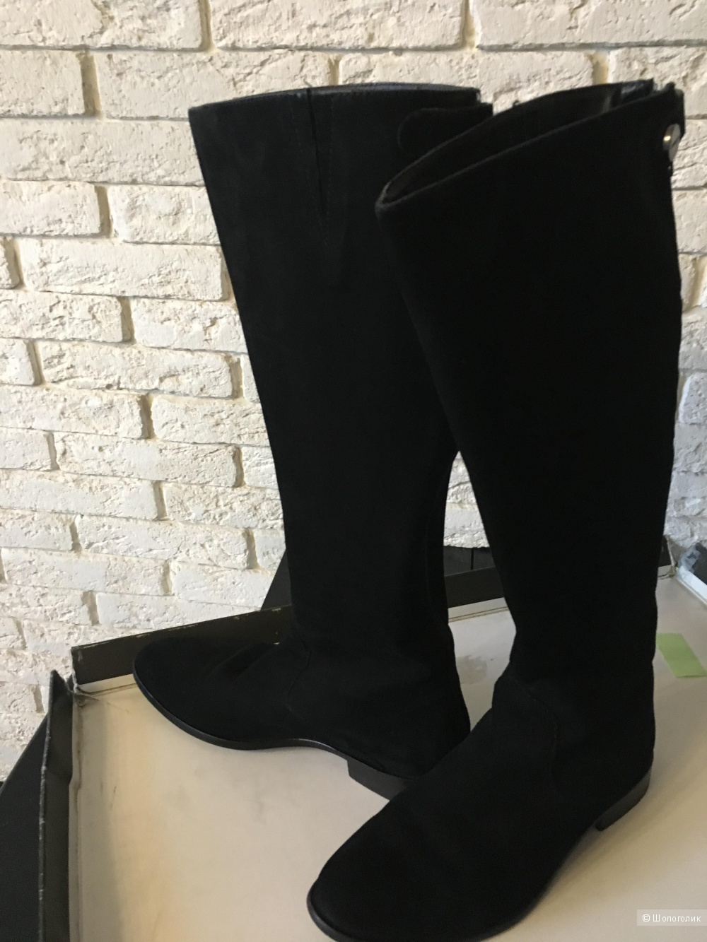 Сапоги Франция 36 размер чёрная замша