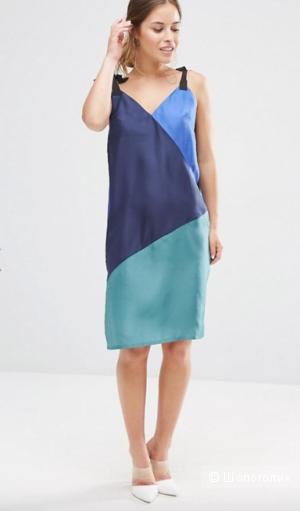 Шелковое платье-комбинация в стиле колор блок ASOS PETITE - Мульти / 48 рос.