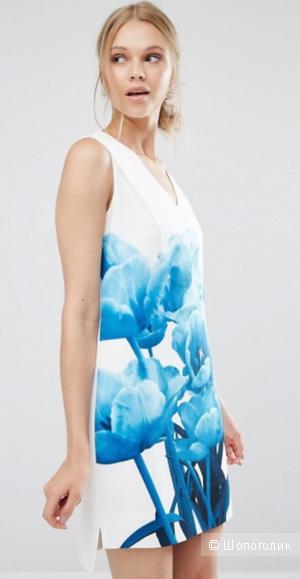 Платье с синими тюльпанами Ted Baker Jamina - Белый / Size 5 - на рос. 50