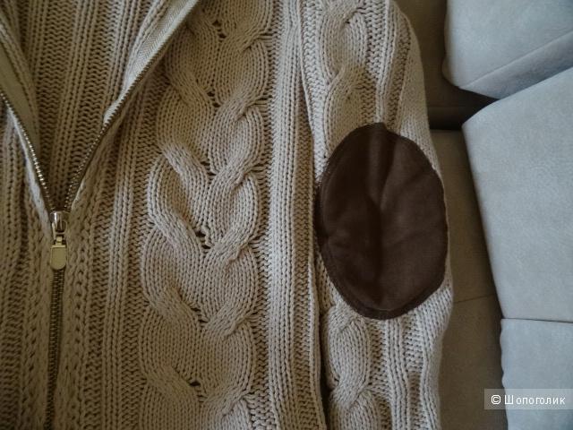 Джемпер с косами цвета беж, б/у, размер 40-42