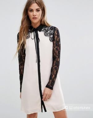 Цельнокройное платье с кружевом и завязкой у горловины Fashion Union, новое, 42/44