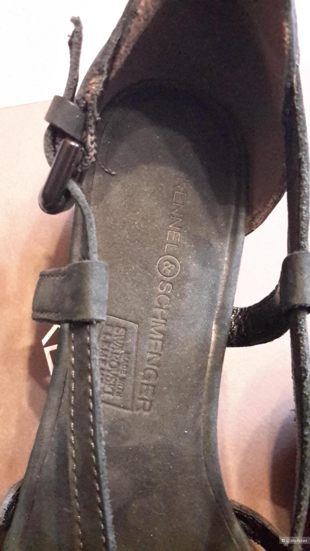 Босоножки K&S иссиня-черные со стразами сваровски размер 4,5 на наш 37 100% кожа