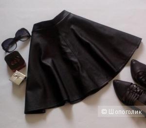 Кожаная юбка - полусолнце New Look