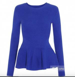 Теплый свитер с баской Ted Baker Women's Edenia Peplum Ribbed Sweater, Bright Blue. Размер 3 (на 44-48)