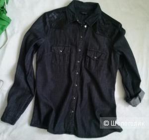 Amisu хлопковая рубаха(деним) с кожаными вставками 42-44