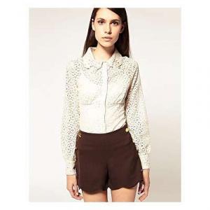 Новая бежевая кружевная блузка-боди Nishe