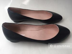 Новые кожаные балетки чёрные