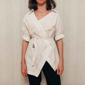 Хлопковая белая рубашка с поясом free size