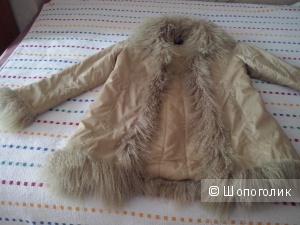 Демисезонное пальто AMISU , с мехом ягненка, р. 46