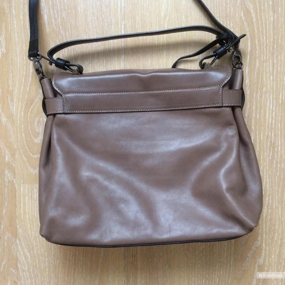 Классная сумка-портфель INNUE, Италия, цвет тауп, коричнево-серый.